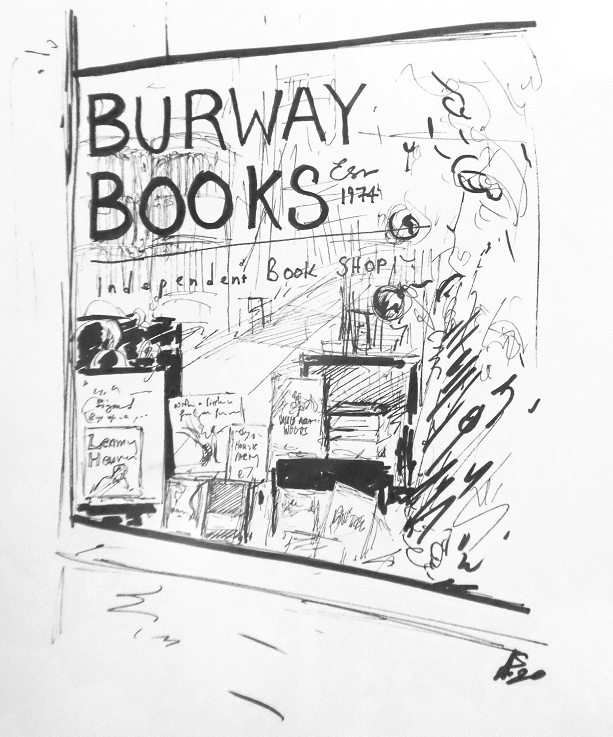 This image has an empty alt attribute; its file name is bookshop-drawing-by-Alun-Ephraim-1.png